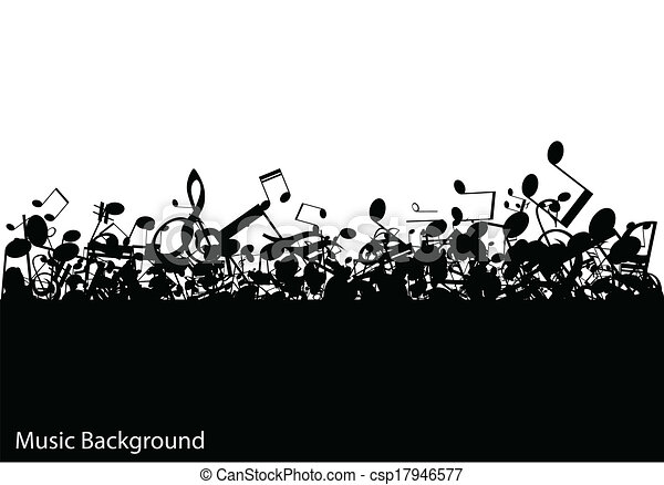 Abstract music background with notes, vector - csp17946577