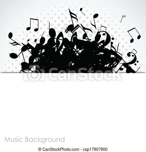 Abstract music background with notes, vector - csp17807900