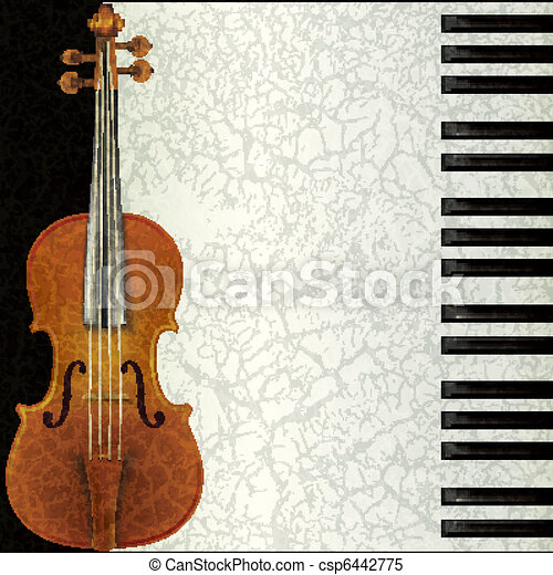 abstract music background with violin and piano - csp6442775