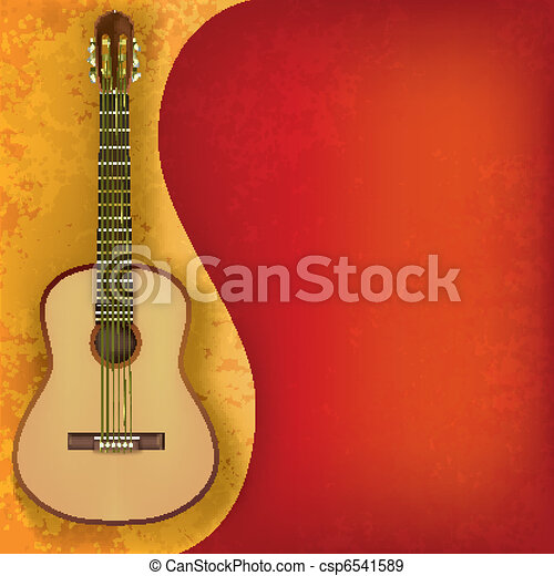 abstract music grunge background with guitar - csp6541589