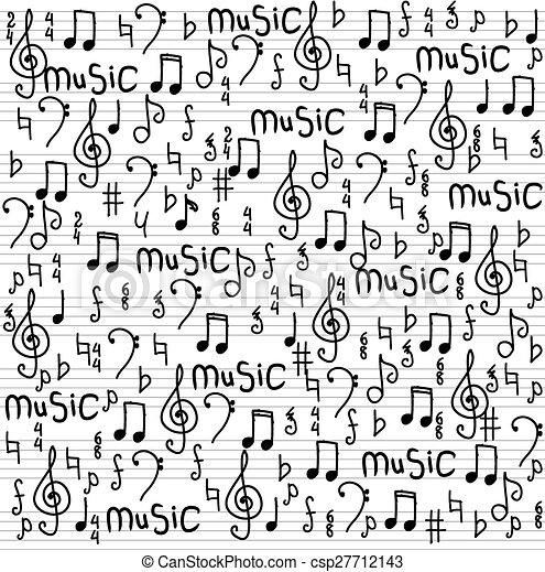 Abstract music seamless pattern background vector illustration for your design - csp27712143