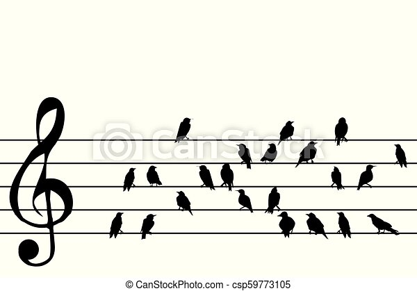 Abstract music stave with birds - csp59773105