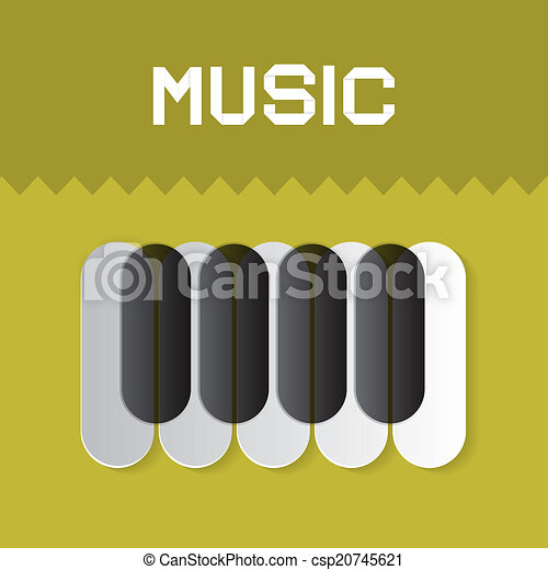 Abstract Music Vector Keyboard Symbol On Green Background