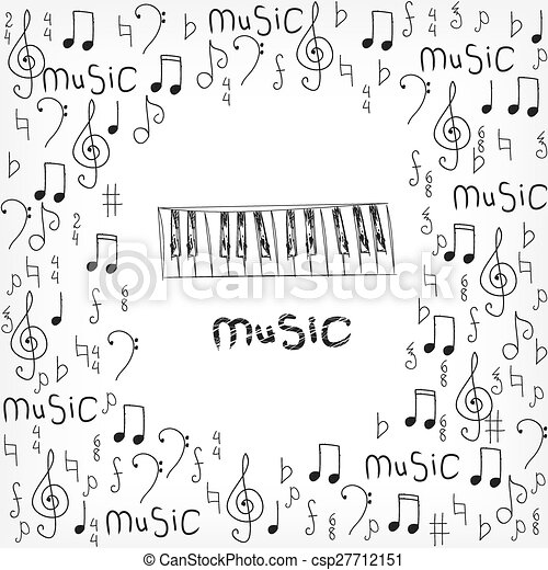 abstract musical background with notes - csp27712151