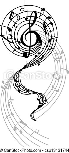 Abstract musical swirl with notes and sounds - csp13131744