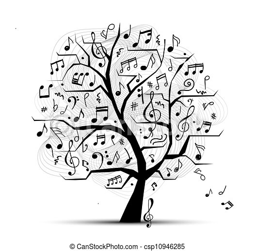 Abstract musical tree for your design - csp10946285