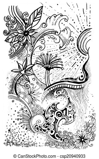 Abstract nature drawing abstract flower black and white nature drawing abstract nature drawing csp20940933 mightylinksfo
