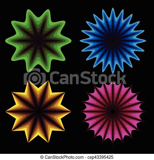 Abstract neon shapes in 4 colors - csp43395425