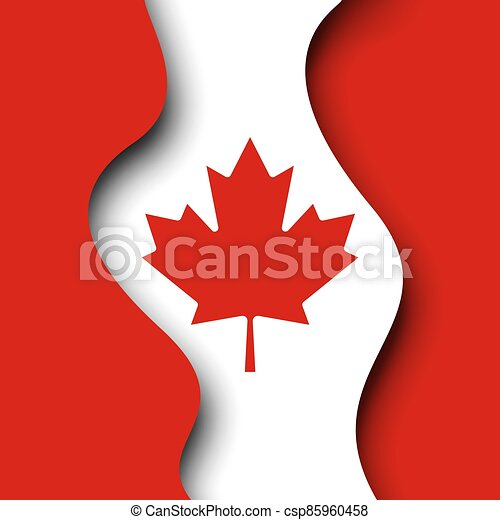 Abstract new waving flag of canada. Protest actions. Creative background for design of poster canadian patriotic holiday. Vector illustration of the canadian flag. Paper cut. Banner - csp85960458