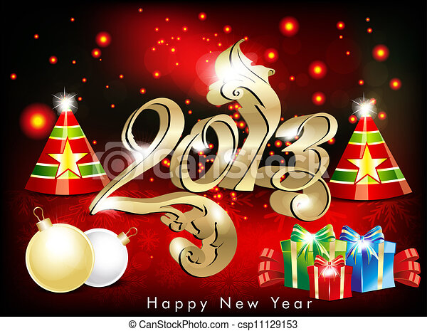 abstract new year wallpapwr with cracker - csp11129153