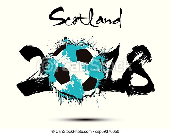 Abstract number 2018 and soccer ball blot - csp59370650