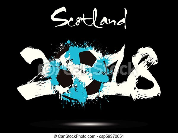 Abstract number 2018 and soccer ball blot - csp59370651