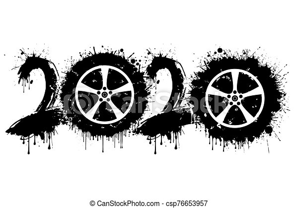 Abstract numbers 2020 and car wheel from blots - csp76653957