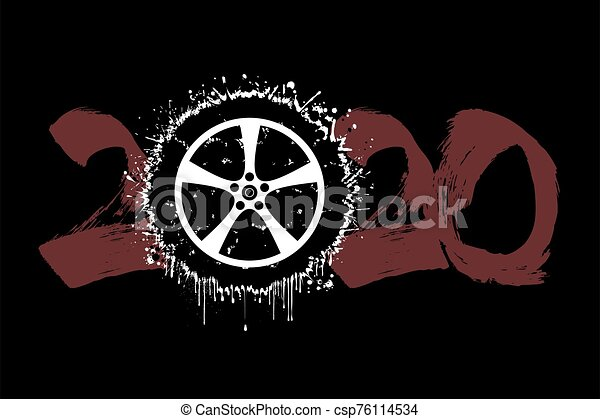Abstract numbers 2020 and car wheel from blots - csp76114534