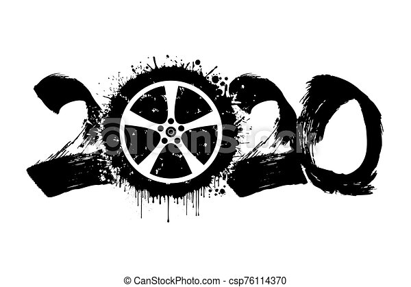 Abstract numbers 2020 and car wheel from blots - csp76114370
