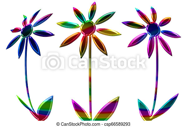 Abstract of colorful flowers isolated on a white background - csp66589293