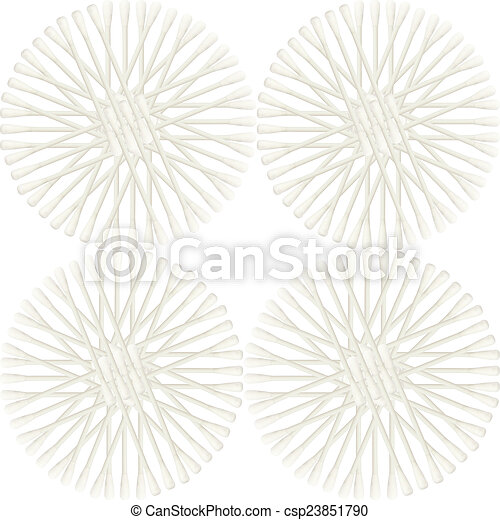 Abstract of Cotton buds isolated on white background - csp23851790