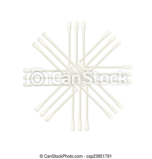 Abstract of Cotton buds isolated on white background - csp23851791