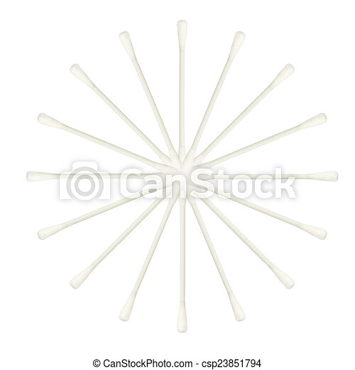 Abstract of Cotton buds isolated on white background - csp23851794