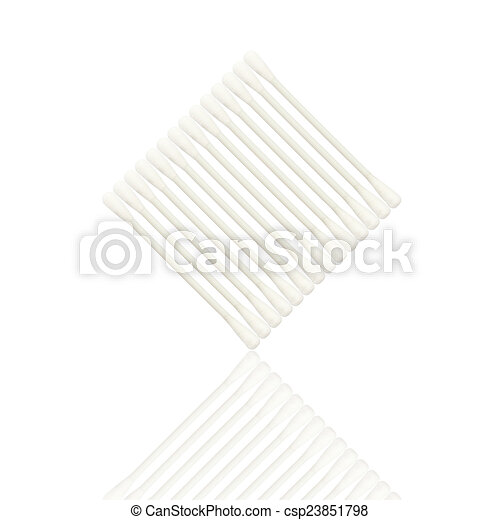 Abstract of Cotton buds isolated on white background - csp23851798