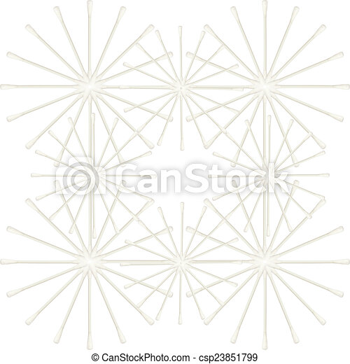Abstract of Cotton buds isolated on white background - csp23851799