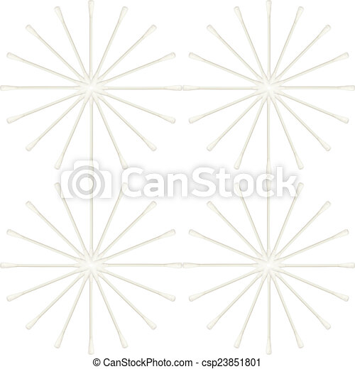 Abstract of Cotton buds isolated on white background - csp23851801