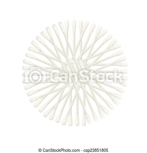 Abstract of Cotton buds isolated on white background - csp23851805