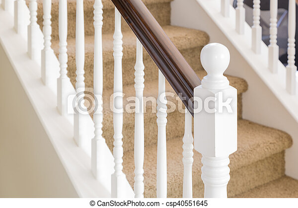 Abstract Of Stair Railing And Carpeted Steps In House   Csp40551645