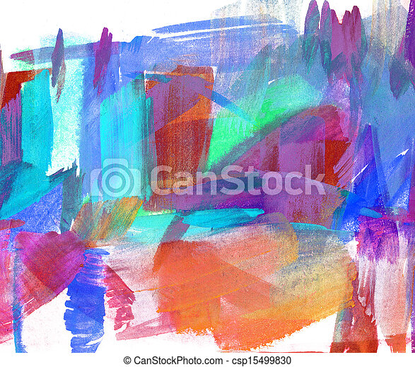 Abstract oil painting. Blurred stain. Freehand drawing - csp15499830