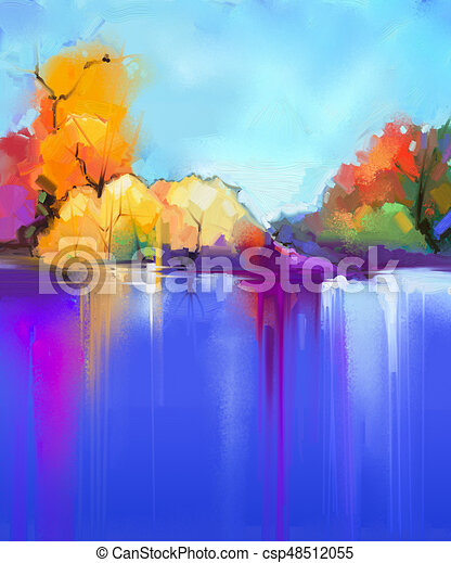 Abstract Oil Painting Landscape Background