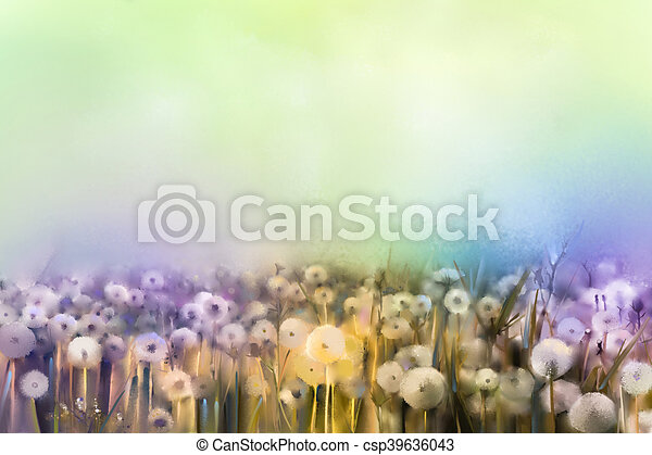 Abstract oil painting white flowers field in soft color oil abstract oil painting white flowers field in soft color oil paintings white dandelion flower in mightylinksfo
