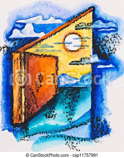 open door pencil drawing. Abstract Open Door With Light, Watercolor Slate-pencil Painting - Csp11757991 Pencil Drawing