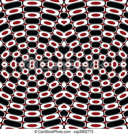 Abstract optical effect with black, white and red - csp3902773