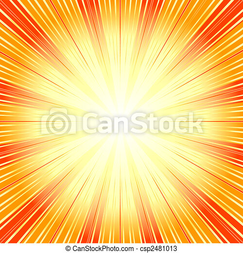 Abstract  orange background with sunburst (vector) - csp2481013