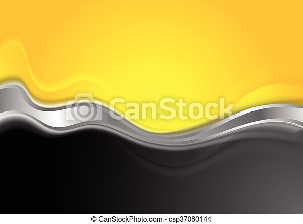 Abstract Orange Black Background With Metallic Wave
