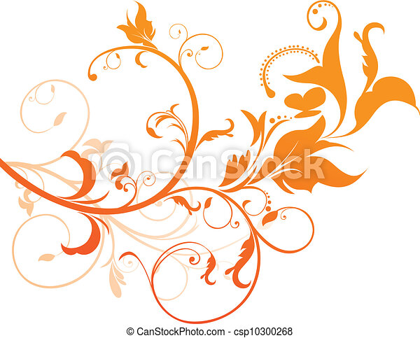abstract orange floral - csp10300268