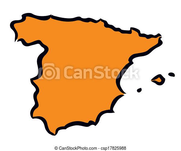 Abstract orange Spain map - csp17825988