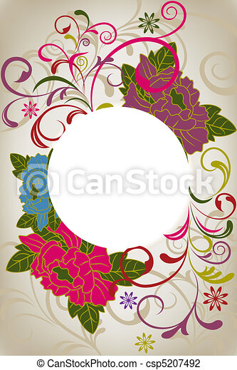 Abstract oriental floral card - csp5207492
