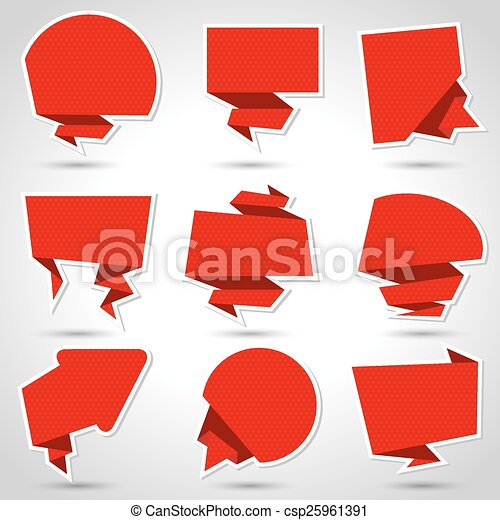 Abstract origami speech bubble vector background. Eps 10 - csp25961391
