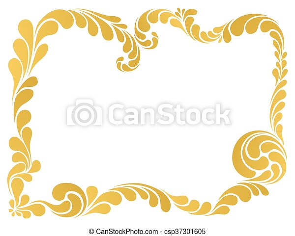 abstract ornament, golden frame - csp37301605