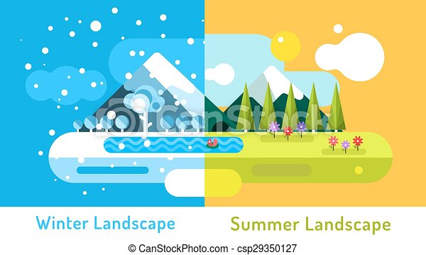 Abstract outdoor summer and winter landscape. Trees nature signs, mountains, river or lake, sun clouds, flowers, cave, snow ice, cold. Design elements. - csp29350127