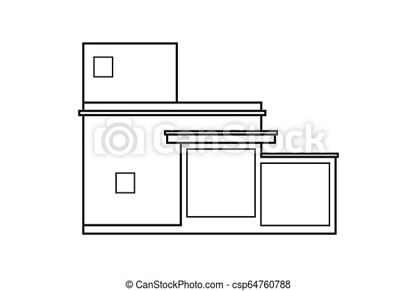Abstract Outline Drawing Modern House Or Building Square Shape Vector Illustration