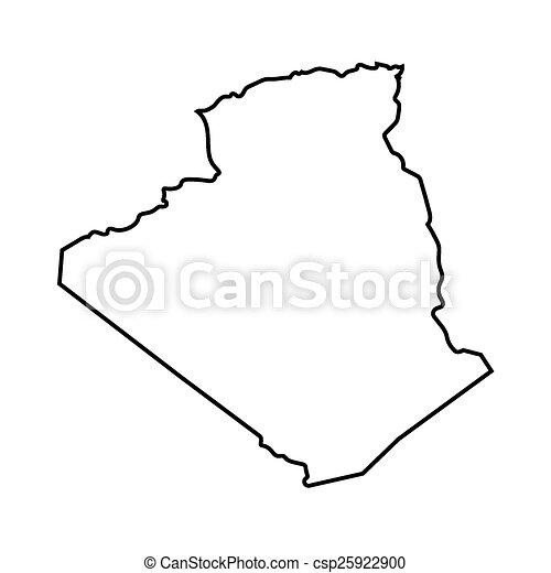 Carte Algeria Vector.Abstract Outline Of Algeria Map