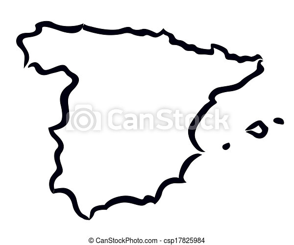 Abstract Outline Of Spain Map