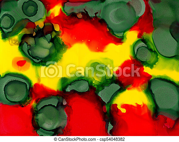 Abstract Painted Green Spots On Red Yellow