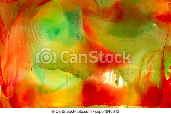 Abstract Painted Smooth Smudged Red Green