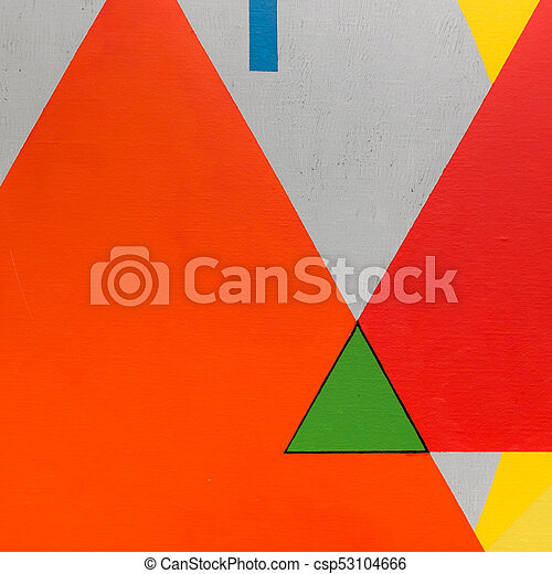 Abstract Painting Art With Geometric Shapes Colorful Triangles