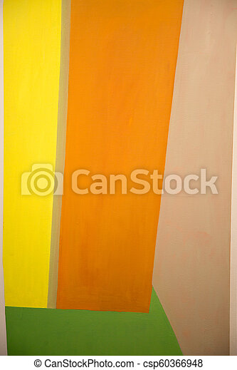 Abstract Painting Art With Yellow Orange And Green Geometric Shapes