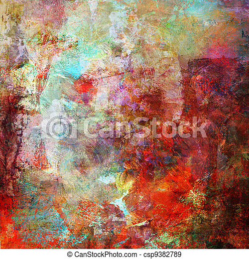 abstract painting in mixed media style - csp9382789