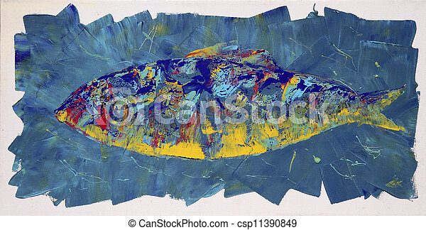 Abstract painting of the fish. - csp11390849